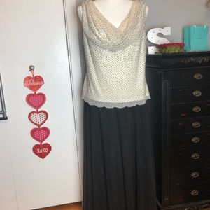 Beaded Cowl Neck Gown